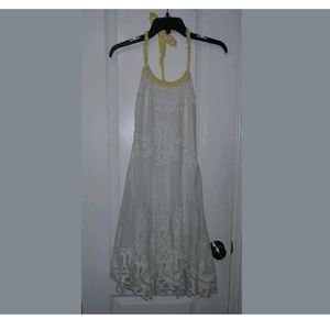 4 Free People White Embroidered Halter Mini Dress